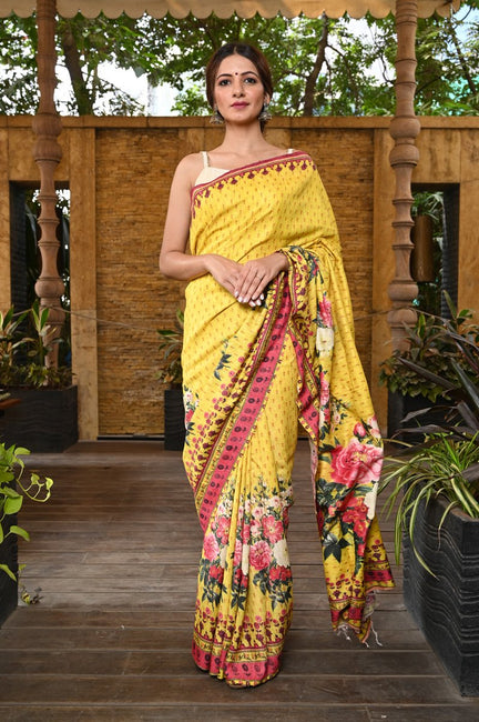 Yellow Printed Handwoven Ghicha Silk Saree