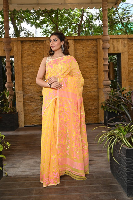 Coral Orange Handwoven Linen Saree with Golden Border-Jannat e Firdaus Collection-Beatitude Label