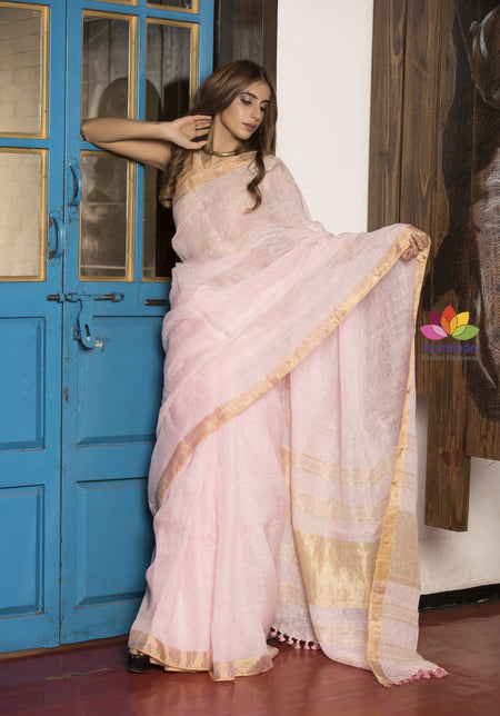 Baby Pink Handwoven Linen Saree with Golden Border-Jannat e Firdaus Collection-Beatitude Label