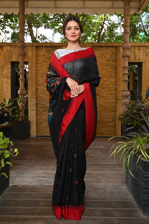 Black Handwoven Linen Saree