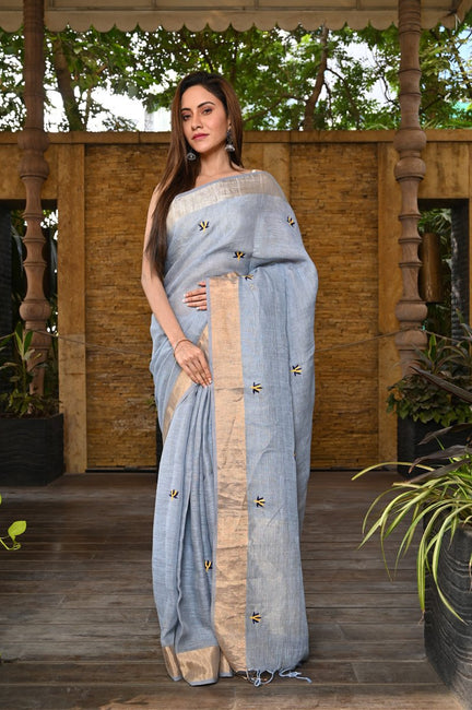 Greyish Blue Hand Embroidered Linen Saree
