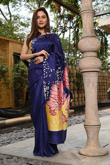 Blue Shade Gajji Silk Batik Saree