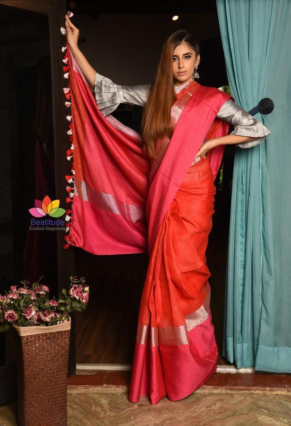 Double Shaded Handwoven Linen Saree with Zari Border