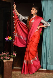 Double Shaded Handwoven Linen Saree with Zari Border-Festival Collection-Beatitude Label
