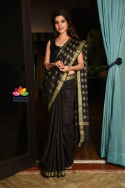 Black Handwoven Kota Silk Saree-Festival Collection-Beatitude Label