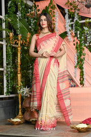 Brown Handwoven Linen Saree with Zari Border-Festival Collection-Beatitude Label