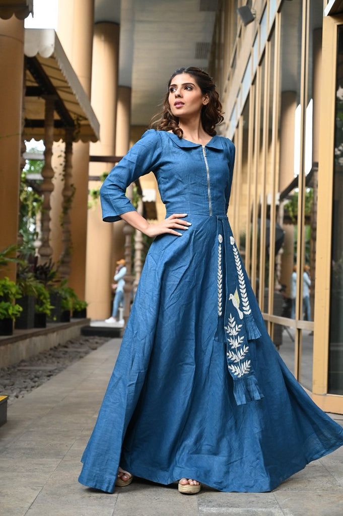 Blue Hand Embroidered Designer Gown