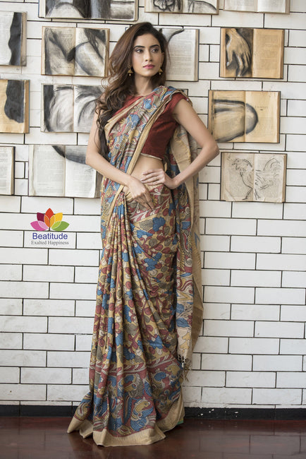 Multicolor Noil Silk Kalamkari Saree-Jannat e Firdaus Collection-Beatitude Label