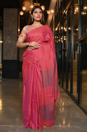 Pink Shade Handwoven Cotton Saree