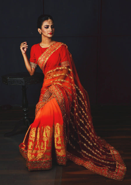 Red and Orange Hand Embroidered Net Designer Saree