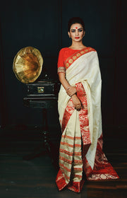 Off White Handwoven Tussar Silk Designer Saree