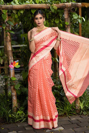 Peach Banarasi Cutwork Brocade Handwoven Art Cotton Silk Saree
