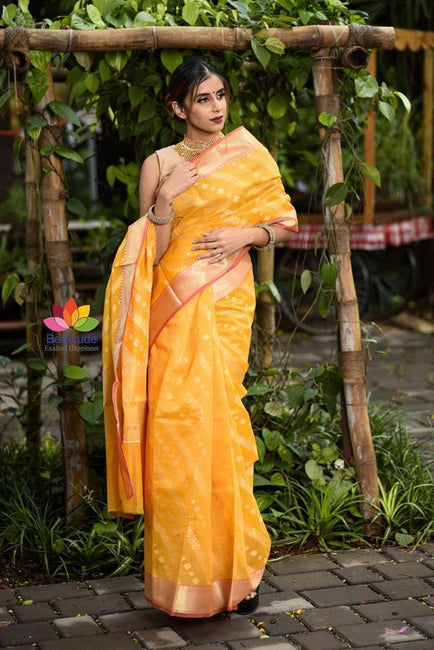 Yellow Cutwork Brocade Handwoven Cotton Silk Saree
