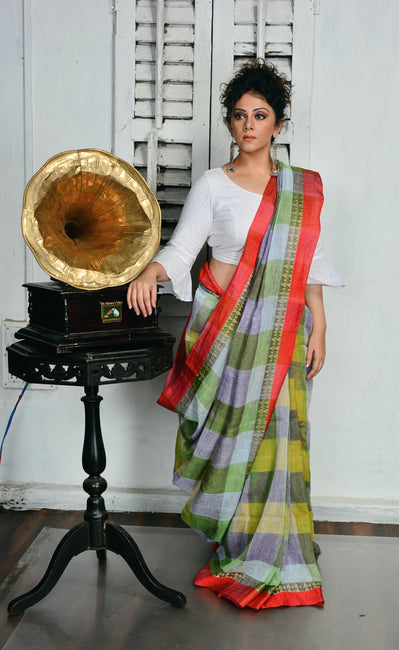 Multicolor Handwoven Linen Saree