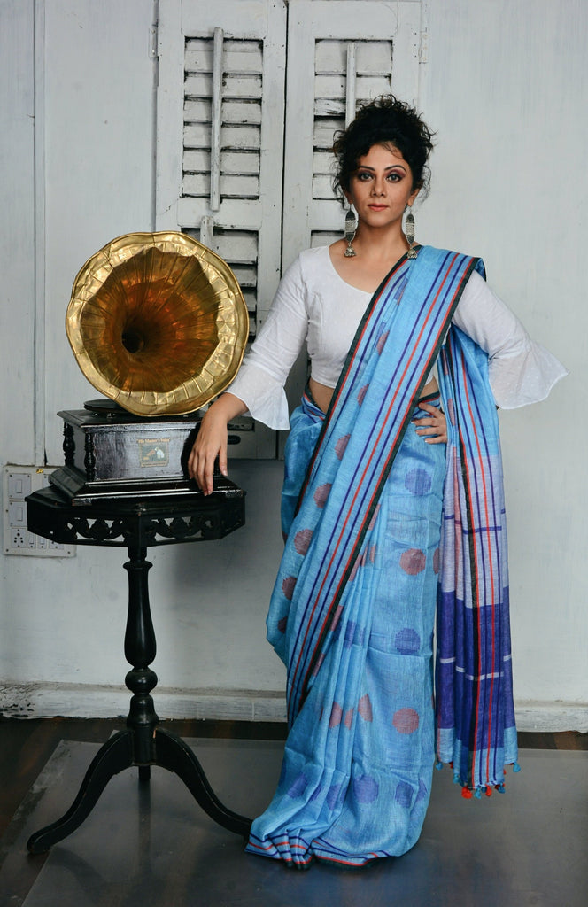 Blue Handwoven Linen Jamdani Saree-Vemaka New-Chandri