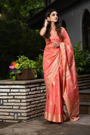 Salmon Pink Handwoven Kota Silk Saree