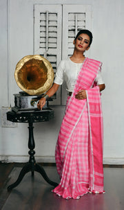 Pink and White Checks Handwoven Linen Saree