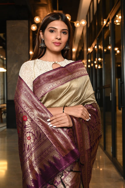Brown Shade Handwoven Tussar Ghicha Saree
