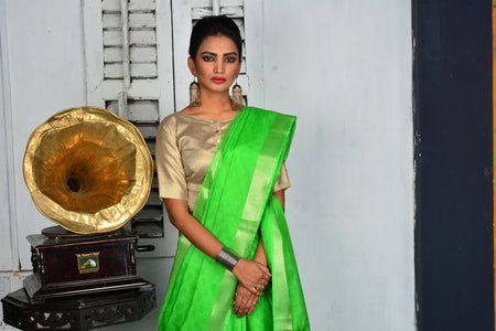 Green Handwoven Cotton Silk Saree