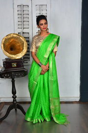 Green Handwoven Cotton Silk Saree-Vemaka New-Chandri