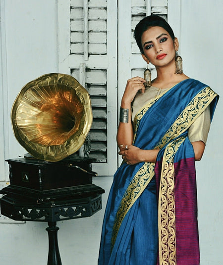 Blue Handwoven Cotton Silk Saree with Resham Border-Vemaka New-Chandri