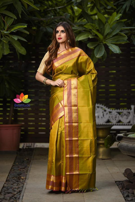 Yellow Shade Handwoven Kanjivaram Silk Saree