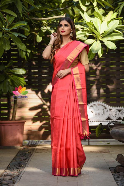 Red Shade Handwoven Kanjivaram Silk Saree