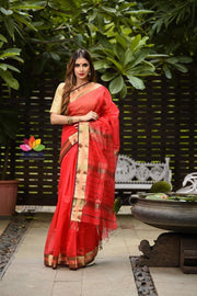 Red Shade Handwoven Maheshwari Saree