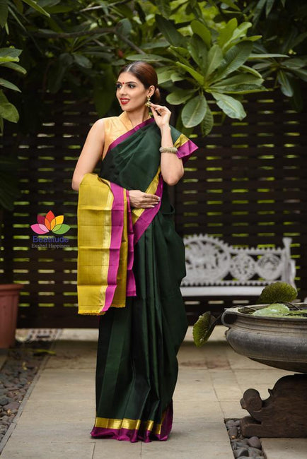 Dark Green Shade Handwoven Kanjivaram Silk Saree-Festival Collection-Beatitude Label