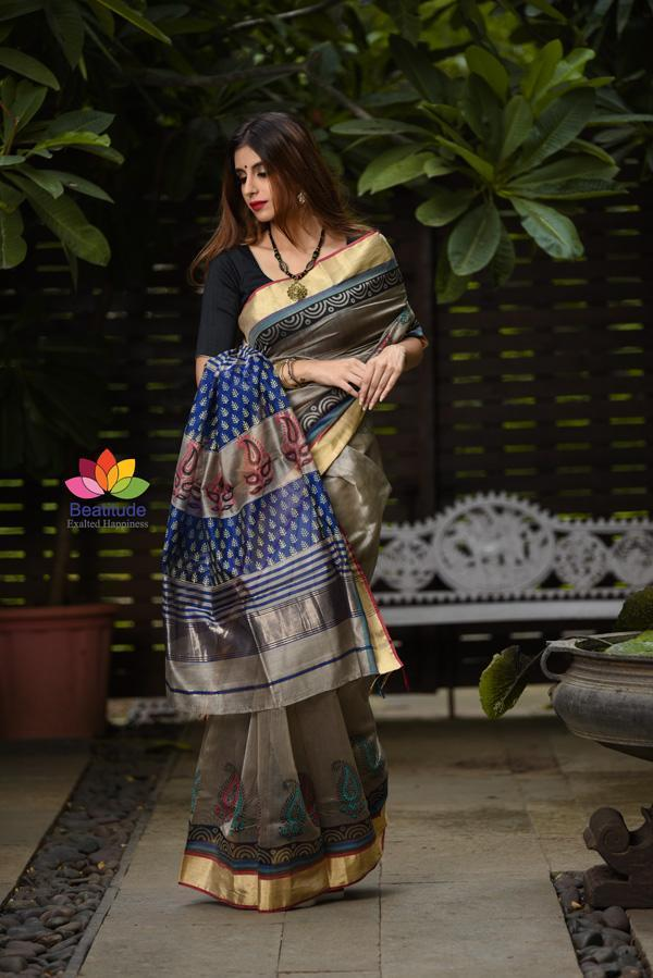 Grey Shade Printed Handwoven Maheshwari Saree-Festival Collection-Beatitude Label