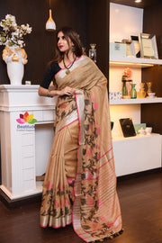 Brown Shade Handwoven Linen Saree with Jacquard Weaving-Festival Collection-Beatitude Label