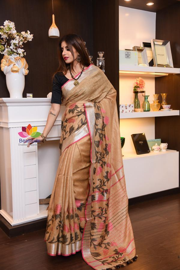 Brown Shade Handwoven Linen Saree with Jacquard Weaving-January Collection-Beatitude Label