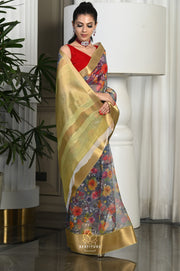 Blue Handwoven Linen Saree-Festival Collection-Beatitude Label