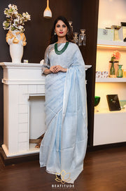 Light Blue Shade Handwoven Linen Saree with Zari Border-Festival Collection-Beatitude Label