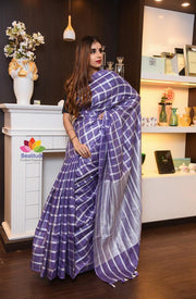 Purple Shade Handwoven Linen Saree