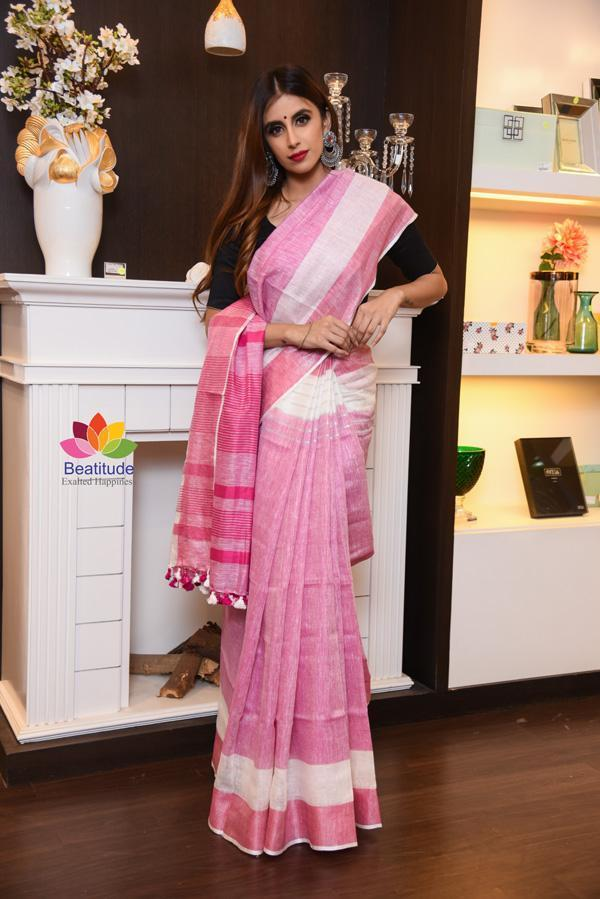 White and Pink Double Shade Handwoven Linen Saree
