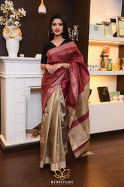 Double Shade Handwoven Dupion Raw Silk Saree-Festival Collection-Beatitude Label