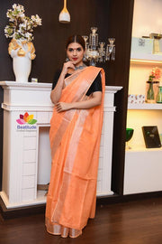 Orange Handwoven Linen Saree with Zari Border