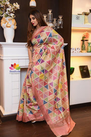 Multicolor Handwoven Matka Silk Saree