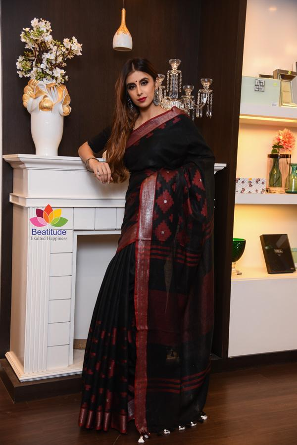 Black Handwoven Linen Saree-Festival Collection-Beatitude Label