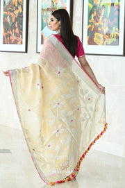 Black Shade Handwoven Khadi Cotton Saree-Festival Collection-Beatitude Label