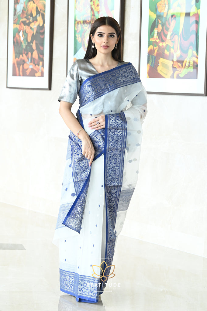 White Handwoven Chanderi Katan Silk Saree