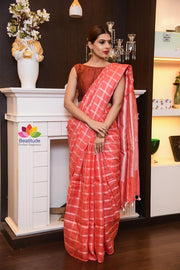 Red Shade Handwoven Linen Saree