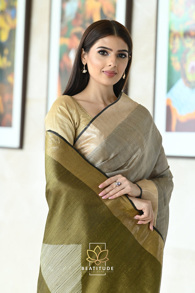 Yellow Handwoven Begumpuri Cotton Saree