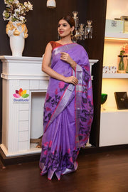 Lavender Shade Handwoven Linen Saree with Jacquard Weaving-Festival Collection-Beatitude Label