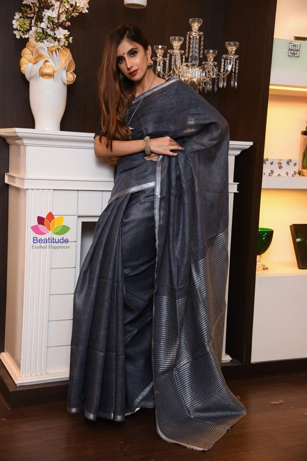 Grey Shade Handwoven Linen Saree with Zari Border-Festival Collection-Beatitude Label