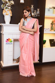 Pink Shade Handwoven Linen Saree with Zari Border