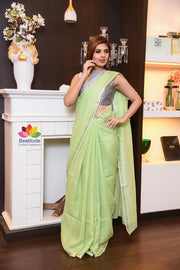 Green Shade Handwoven Linen Saree with Zari Border