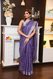 Lavender Shade Handwoven Linen Saree with Zari Border