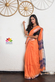 Orange Handwoven Linen Saree